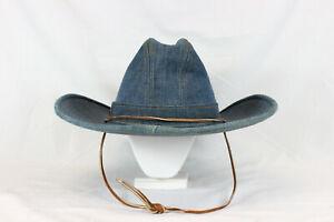 VTG Levi Strauss Denim Western Blue Jean Cowboy Hat 7 1/4