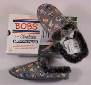 NIB Skechers BOBS Charcoal CAT Snuggle Up Mules Study Club Faux Fur Slippers 7
