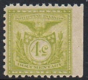 Philippines 1900's A Very Fine Mint MNH Documentary 4c Pale Green Revenue Stamp