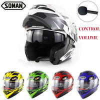 Motorcycle Helmets Bluetooth Headset Double Visor Flip Up Helmet Motorbike DOT
