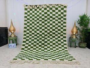 "Beni Ourain Moroccan Handmade Rug 5'7""x8'3"" Checkered Berber White Green Carpet"