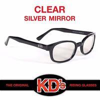 KD's Original Black Frame Clear Silver Mirror Lens KD Biker Riding Sunglasses