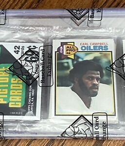 1979 Topps Football Rack Pack - EARL CAMPBELL RC On Top - BBCE wrapped sealed