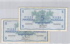 FINLANDE LOT DE DEUX 5 MARKKAA 1963 N° O1297733 & O1830759 PICK 103a