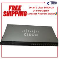 Lot of 2 Cisco SG100-24 24-Port Gigabit Ethernet Network Switch