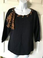St. John Collection Santana Knit Black Top Leopard Side Tie Scarf