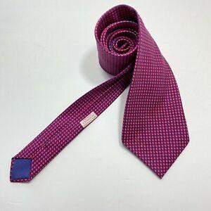 Hermes Paris Tie 045559MA navy Purple houndstooth pattern print Has Stain