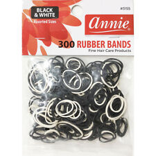 ANNIE 300 RUBBER BANDS BLACK&WHITE ASSORTED SIZE #3155 ELASTIC HAIR TIE