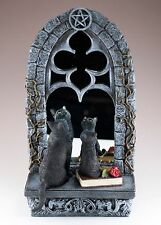 """Two Black Cats In Front of Window Mirror Figurine 13"""" High Polystone New In Box!"""