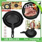 3pcs/Set Cast Iron Frying Pans Cookware Pots Kitchen Cooking Tool 16cm/20cm/25cm