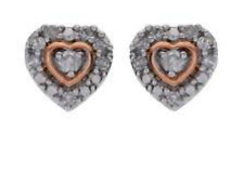 Tia Mia Sterling Silver and 9ct Rose Gold Plated Diamond Heart Earrings
