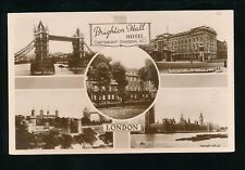 LONDON Brighton Hall Hotel Cartwright Gardens advert c1920/30s? RP PPC Lilywhite