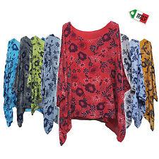 Italian Lagenlook Cotton Summer Tunic Top Plus Size 18 20 22 24 26 28 30
