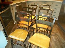 ANTIQUE SET OF 6 HITCHCOCK DINING SIDE CHAIRS BLACK MUSTARD SEATS NICE PATINA!