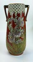 Antique Cloisonne Double Handle Tall Porcelain Ceramic Floral Pottery Vase