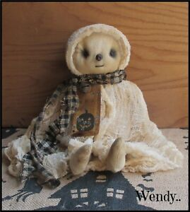 Primitive Aged Ghost Doll Halloween Autumn Fall  Holiday Decoration