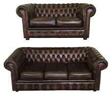 Antique Brown Chesterfield 100 Genuine Leather Three & Two Room Set Handmade UK