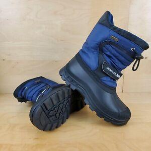 TRESPASS KUKUN KIDS SNOW BOOTS WATERPROOF BLACK & BLUE SIZE UK 2 EUR 34