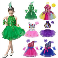 Child Sequined Jazz Dancewear Costume Girls Modern Ballet Xmas Party Dance Dress