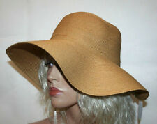 Women's Summer Hat with Wide Brim, Crushable Plaited Beach Hat - Tan Color