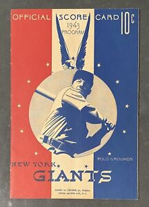 1943 Boston Red Sox vs New York Giants MLB Baseball Program Polo Grounds
