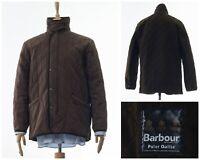 Men BARBOUR DURACOTTON Polarquilt Fleece Lining Jacket Coat Quilted Brown Size S
