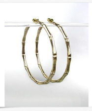 "CHIC & STYLISH Gold Plated Bamboo Motif 2"" Diameter Hoop Earrings"