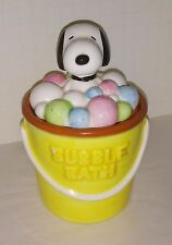 Peanuts Snoopy early United Features ceramic bucket & lid Snoopy in bath bubbles