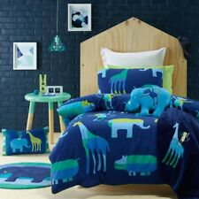 6 pce Animal Patch Boys Double Bed Quilt Cover 2 x Cushions Floor Rug Package
