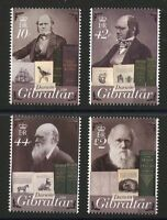 Charles Darwin mnh set of 4 stamps 2009 Gibraltar birds animals books