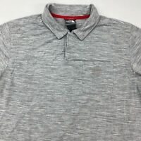 The North Face Polo Shirt Men's L Short Sleeve Gray Heather Chest Pocket Poly