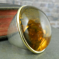 Designer Milano Italy Sterling Silver & 18K Gold Large Oval Amber Statement Ring