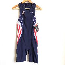 TYR Men's Small Red White Blue Triathlon Tri Suit Short John Back Zip USA New