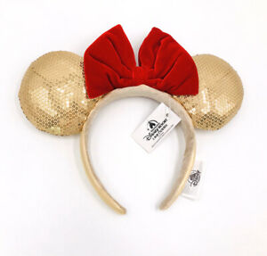 Rare 2019 Mickey Mouse Red Bow Gold Minnie Ears Disney Parks Sequins Headband