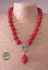 Collana di Perle da Donna Estiva Resina Color Rosso Corallo Elegante Moda Mare