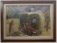 Der Heuwagen, gutes Gemälde aus Pfälzer Nachlass