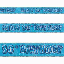 12ft Happy 30th Birthday Blue Sparkle Prismatic Party Foil Banner Decoration