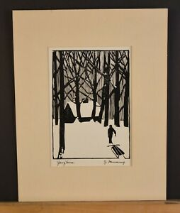 Block Print - Winter Landscape Cabin in Snow Returning Home - J. Hansmang