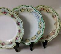 Vtg H & Co/L France Hand Painted Haviland Limoges Plates, Set of 3