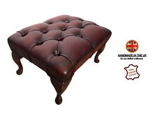 Chesterfield Oxblood Red100% Genuine Leather Footstool Handmade Deep Buttoned