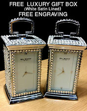Mr and Mrs Carriage Clock Wedding Anniversary Encrusted With Swarovski Crystals