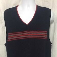 Tommy Hilfiger sz Large L Polo Golf Stripe V-Neck Cotton Sweater Vest Red Blue