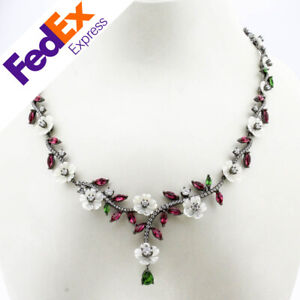Heavy 925 Sterling Silver Natural Mother of Pearl Turkish Lady's Luxury Necklace