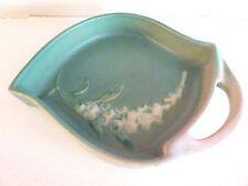 Vintage Roseville Pottery Green FOX GLOVE Handled TRAY DISH Art
