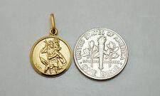 14K solid gold 14 mm Saint Christopher medal / pendant