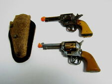 """2-Vintage  2.75"""" Toy Replica Gun Pistols: Victory w/Leather Holster/Nice!"""