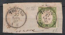 FRANCOBOLLI 1859 SARDEGNA 5 C. VERDEGIALLO BRILLANTE TORINO 27/1 Z/355