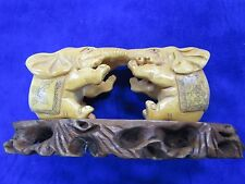 Pair of CHINESE HAND CARVED / ETCHED BOVINE BONE ELEPHANTS