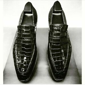Mens Handmade Shoes Black Crocodile Leather Embossed Formal Dress Casual Boots