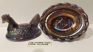 Boyd Crystal Art Glass - Vintage Chick Salt  #176 Purple Fizz Carnival - 5th Gen